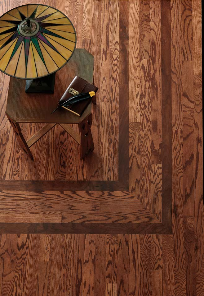 Site Finished-Red-Oak-with-walnut-feature-strip,-Bona-Mahogany-stain